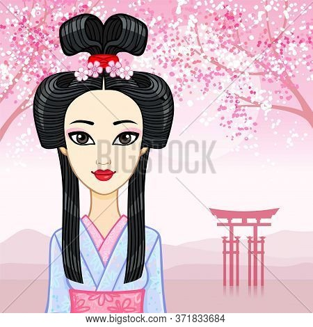 Animation Portrait Of The Young Japanese Girl An Ancient Hairstyle. Geisha, Maiko, Princess. Backgro