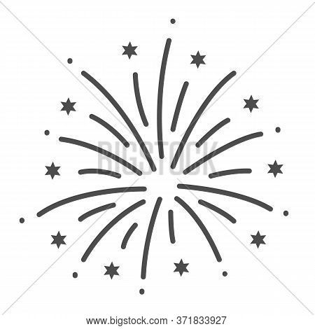 Firework Thin Line Icon, Explosive Pyrotechnic Show Concept, Fireworks With Bursting Stars Sign On W