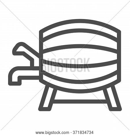 Beer Barrel With Faucet Line Icon, Alcohol Drinks Concept, Wooden Wine Cask On Racks With Tap Sign O