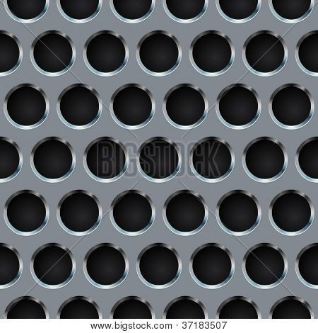Seamless circle perforated metal grill vector pattern.