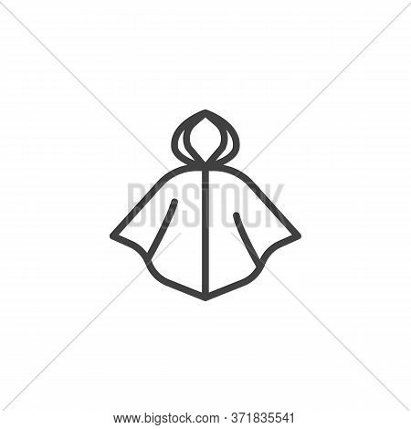 Raincoat Line Icon. Linear Style Sign For Mobile Concept And Web Design. Hooded Raincoat Outline Vec