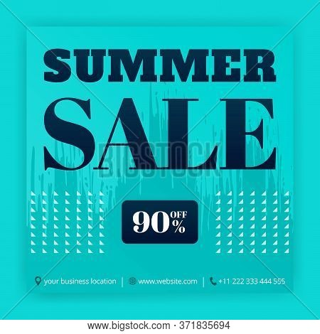 Summer Sale Social Media Ads Promotions. Business Posters Of Discount Offers. Can Be Used For Online