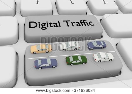 3d Illustration Of Computer Keyboard With The Script Digital Traffic On A Button, And Six Cars Of On