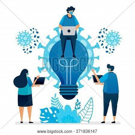 Vector Illustration Of Business Ideas And Brainstorming To Solve Business Problems At Covid-19 Pande