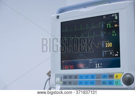 The Vital Signs Monitor In Operating Room In Hospital. Vital Signs Monitor Using For Measure Pulse O