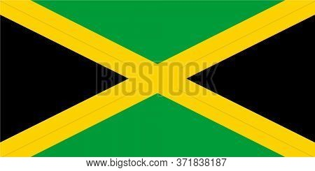Jamaica Flag Illustration,textured Background, Symbols Of Jamaica- Vector Illustration