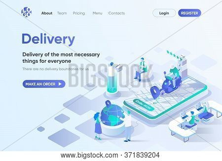 Delivery Service Isometric Landing Page. Home Delivery With Courier, Global Shipping Tracking, Order