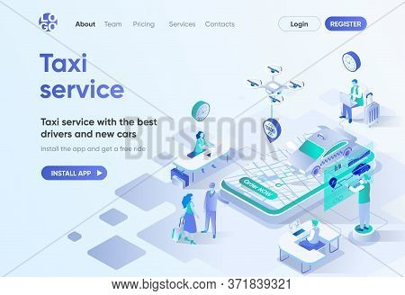 Taxi Service Isometric Landing Page. Best Drivers And New Cars, City Transfer, Passenger Transportat