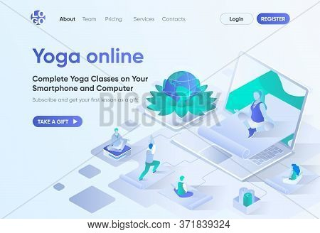 Yoga Online Isometric Landing Page. Distance Training With Instructor, Exercising And Meditating At
