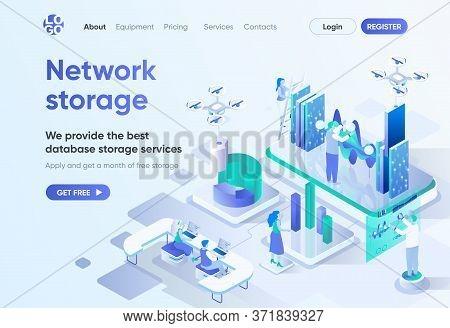 Network Storage Isometric Landing Page. Database Storage Service, Modern Hosting And Backup Technolo