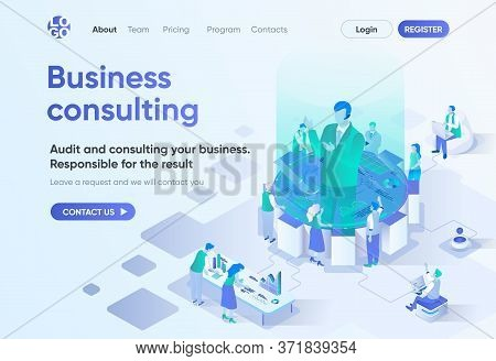 Business Consulting Isometric Landing Page. Competent Expertise And Assistance, Professional Audit.