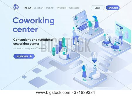 Coworking Center Isometric Landing Page. Business Community Teamwork, Convenient And Functional Work