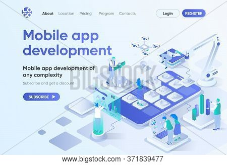 Mobile App Development Isometric Landing Page. Ui Ux Responsive Design, Front End And Back End Devel
