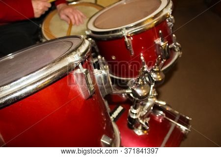 Drums Conceptual Image. Picture Of Drums And Drumsticks Lying On Snare Drum. Selective Focus