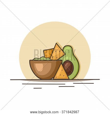 Mexican Food. Avocado Guacamole With Nachos Corn Chips. Contour Illustration Of National Cuisine. Ve