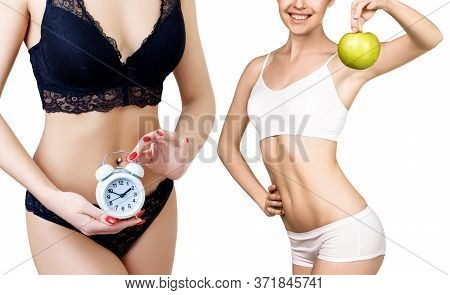 Collage Of Woman Holds Clock And Woman With Apple. Slimming With Time Regime Concept. Isolated On Wh