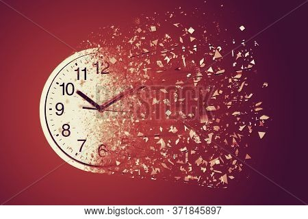 Time Management Concept : White Wall Clock Break Down And Dispersion To Particle.