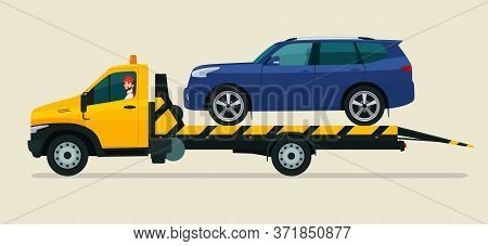 Tow Truck With A Driver Carries A Suv Car. Vector Flat Style Illustration.