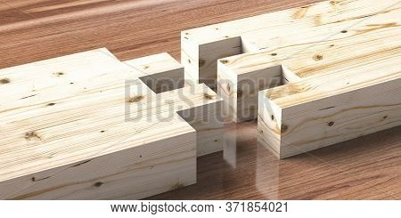 Woodworking Of Separate Pieces On Wood. 3D Illustration