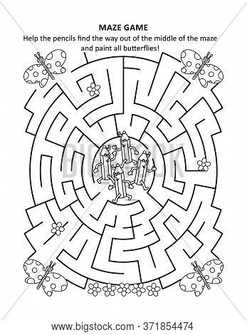 Maze Game And Coloring Page For Kids: Help The Pencils Find The Way Out Of The Middle Of The Maze An