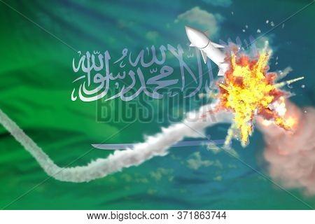 Saudi Arabia Intercepted Nuclear Missile, Modern Antirocket Destroys Enemy Missile Concept, Military