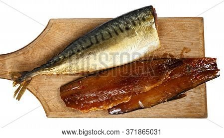 Picture Of Smoked Headless Fillet Of Mackerel On Kitchen Wooden Board