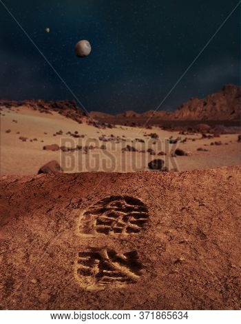 Illustration Of The First Human Footprint On Sandy And Rocky Planet Mars Landscape.