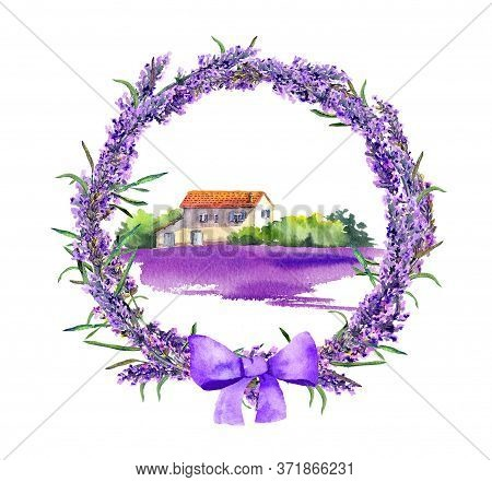 Provence Rustic House In Lavender Wreath Watercolor. French Provencal Illustration - Violet Blooming