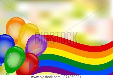 Lgbt Pride Month With Rainbow Flag, Colorful Balloons And Blurred Background. Lesbian, Gay, Bisexual