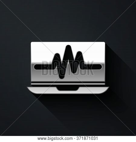 Silver Laptop With Cardiogram Icon Isolated On Black Background. Monitoring Icon. Ecg Monitor With H