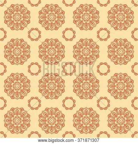 Retro Vintage Chinese Traditional Pattern Seamless Background Round Cross Kaleidoscope Flower