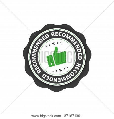 Stamp With Recommended Text Of Flat Style Isolated On White Background. Vector.
