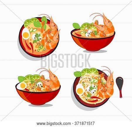 Tom Yum Kung Thai Spicy Soup Vector , Thai Food