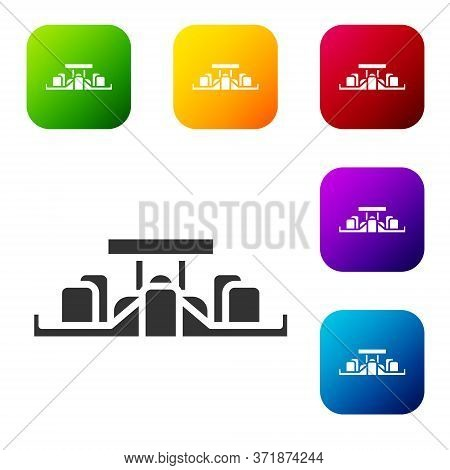 Black Formula 1 Racing Car Icon Isolated On White Background. Set Icons In Color Square Buttons. Vec