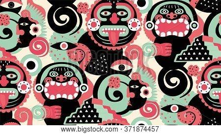 Maya Pattern Seamless Design. Decoration Textile And Paper Series