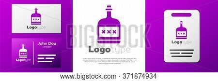 Logotype Alcohol Drink Rum Bottle Icon Isolated On White Background. Logo Design Template Element. V