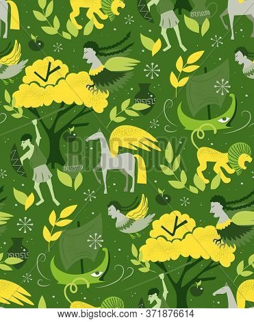 Myths And Legends Pattern Cartoon Style Design For Children