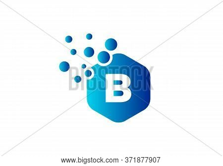 Letter B Hexagon Bubbles Vector. B Letter Logo Design Vector With Dots And Colorful Hexagon.