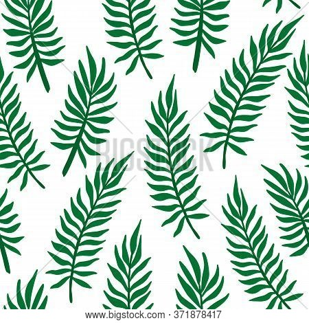 Tropic Palm Leaf Pattern. Tropical Jungle Palm Tree Leaves Seamless Pattern. Vector Illustration.