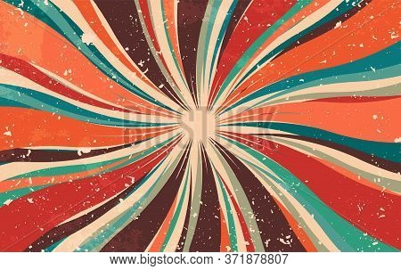 Abstract Retro Dirty Grunge Vintage Starburst. Vintage Sunburst Wallpaper. Swirl Light Rays. Old Pap