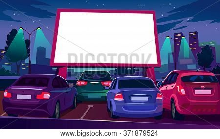 Outdoors Car Cinema With Empty White Screen Vector Illustration. Drive-in Movie Theater With Open Ai