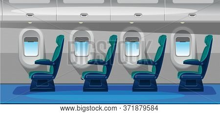 Empty Airplane Salon With Comfortable Seats Vector Illustration. Airplane Interior Design Flat Style