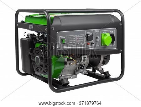 Gasoline Hand-cart Mounted Engine-generator Side View Isolated On White Background