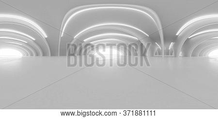 Full 360 Degree Equirectangular Panorama Hdri Of Modern Futuristic White Building Interior 3d Render