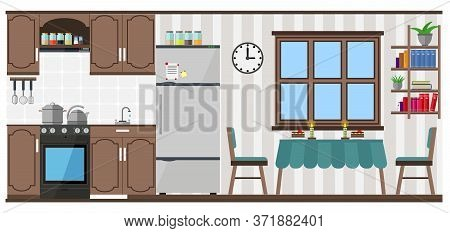 Kitchen And Dining Room With Furniture, Equipment, Food And Utensils. Vector Illustration On The The