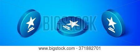 Isometric Movie Trophy Icon Isolated On Blue Background. Academy Award Icon. Films And Cinema Symbol
