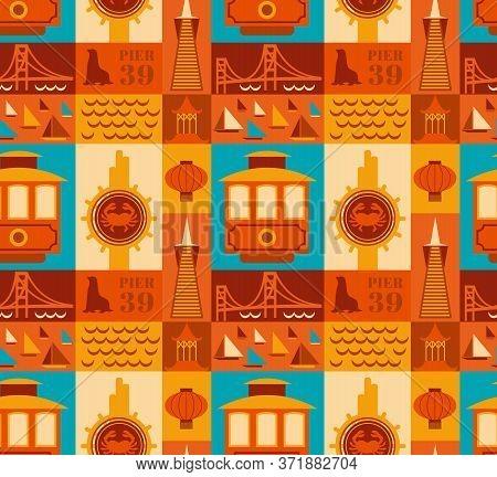 San Francisco Pattern Seamless Design Illustration. Fabric And Wallpaper Series.