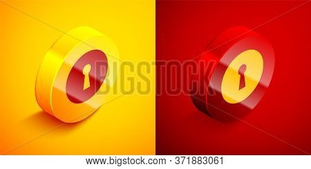 Isometric Keyhole Icon Isolated On Orange And Red Background. Key Of Success Solution. Keyhole Expre