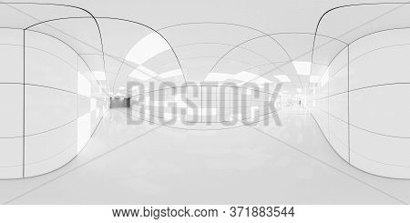 Full 360 Degree Equirectangular Panorama Hdri Of Modern Futuristic White Hallway Interior 3d Render