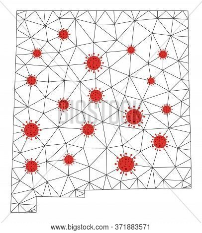 Polygonal Mesh New Mexico State Map With Coronavirus Centers. Abstract Network Lines, Triangles And